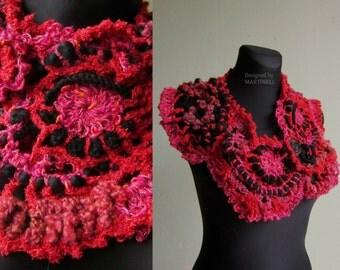 Red Freeform Crochet Scarf, Shrugs Boleros, Shawl Wrap Scarf, Crochet Neckwarmer, Cowl Scarf