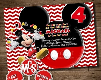 MICKEY MOUSE INVITATION, Birthday Invitation, Chevron Invitation, Mickey Mouse, Party Invitation, Chevron Invitation, Invitation, You Print