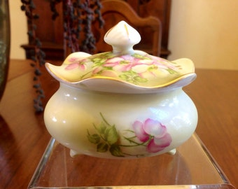 Hand Painted Sugar/Trinket Dish With Lid Nippon Reproduction