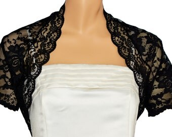 Ladies Black Lace Short Sleeve Bolero Shrug