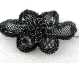 Silesian Wirework Jewelry: Rare Antique Silesian Wirework Flower Brooch