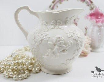 White Cherub Mini Pitcher, Angel Vase, Shabby Valentine Decor,  Lefton Collectible