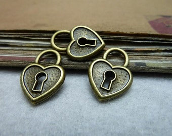 30 Heart Lock Charms- 14x20mm Antique Bronze AC7928