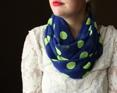 Blue Circle scarf with Neon Yellow-Green Dots, Infinity Scarf, Women's infinity scarf, Eternity scarf, Loop scarf