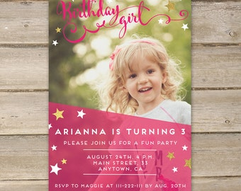 Birthday Invitation, Party Invitation, Printable Party Invitation, Kids Birthday, Birthday Girl, Party Printables, Party Invitations