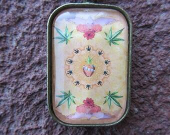 Marijuana Bird Mandala - Cannabis marijuana pot leaf necklace by Silverkind