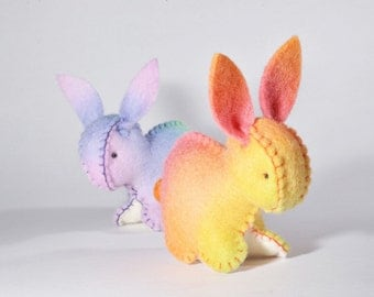 Easter bunny rabbit Australian made - hand dyed wool felt Rainbow Waldorf inspired