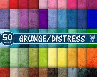 Grunge Digital Papers - distressed background papers in 50 colors - pastel-vintage-bright-natural - Commercial Use - Instant Download