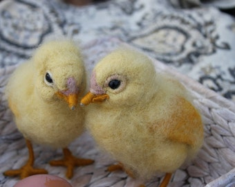 Needle Felted chick,Waldorf,Yellow chick