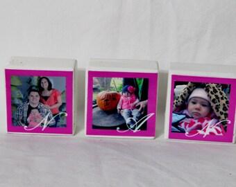 Photo Blocks, Wood Photo Blocks, Baby Photo Block, Home Decor