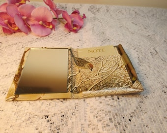 Sale Compact mirror with note pad and pencil. new old stock.Rare.Birds.Gift