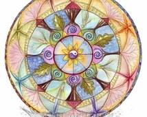 Lifeline A4 Print/Mandala Print/Spiritual art/Healing Art/Chakras/Angels/Yin Yang symbol/Meditative art/Meditation/Art Print