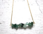 green aventurine bar charm necklace