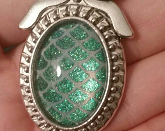 White and sparkly green mermaid scale nail polish pendant