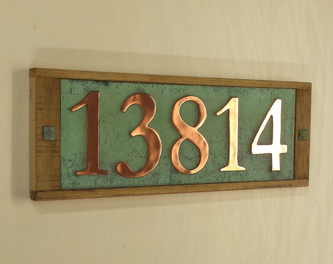 "Large copper number plaque, 150mm/6"" high ,  polished and patinated,  5 x numbers o"