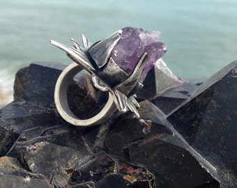 Rustic Primitive Amethyst Ring. Artisan Sterling Silver Ring. Thorny Rose. Bohemian, Boho, Organic, Statement Ring, Metalwork.