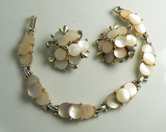 Vintage 1950's Marhill mother of pearl Bracelet and earrings peachy pink color  Unique vintage, antique, costume and estate jewelry.