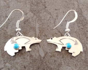 Native American Navajo Sterling Silver Turquoise Hand Stamped Bear Earrings - Ed Abeyta