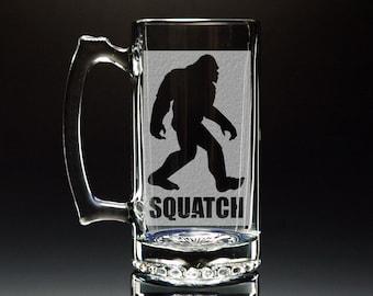 Sasquatch - Bigfoot - Etched Large 26.5 oz Glass Mug