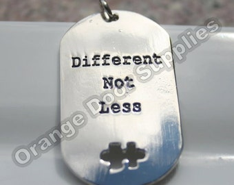 Autism Awareness Dog Tag Puzzle Piece Pendant 30mmx50mm- 1 Pc (ASD121)