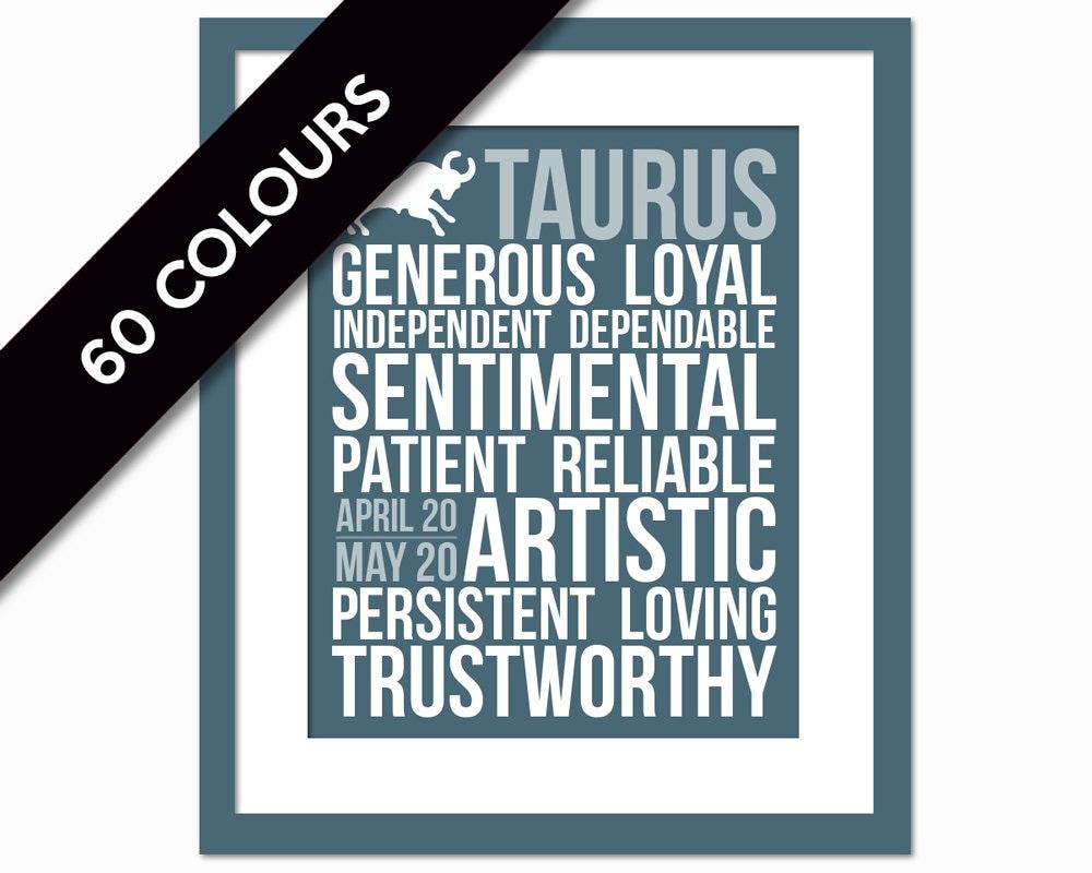 Taurus Personality Character Traits Subway Art Print