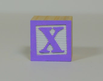 Lilac on White Color Sample - Wooden Alphabet Blocks, Pastel Alphabet Blocks, Alphabet Letters, Wood Blocks, Wood Letters