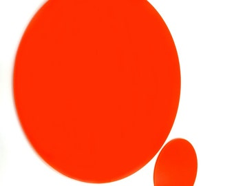 Sets of Round Placemats and/or Coasters - in Solid Orange Acrylic