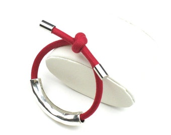 Cord Bracelet in Red with Knotted Mokuba Cord & Hammered Silver Tube