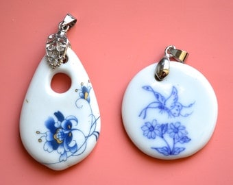 Blue and White Flower Porcelain Pendant  Size Approx.45x28x6mm and 34x5mm