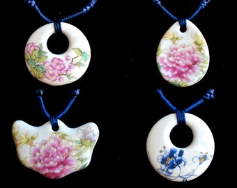 Art Porcelain and Ceramic Peony Pendant Necklace Size Approx. 38x38mm With Adjustable Cord 16-30 Inch #P10