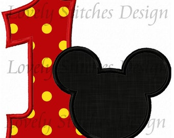 Mickey Mouse Number 1 Applique Machine Embroidery Design NO:0292