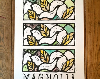 Magnolia Hand Painted Block Print Poster Mississippi State Flower -- lettering, black and white, hand-painted