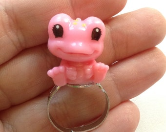 Cute pink and yellow frog ring, toy ring, upcycled, repurposed ring