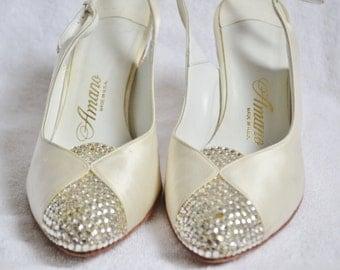 "Vintage cream/ivory satin ""Amano"" heels with rhinstones"