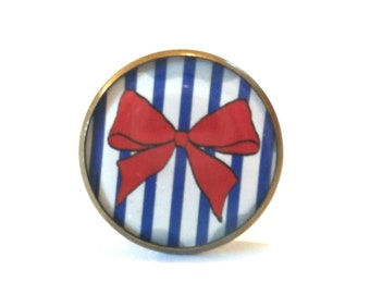 Bow ring, red bow, tiny bow,  bow jewelry, navy striped ring, sailor ring, nautical ring, bowties jewelry, bow jewelry, red ring,