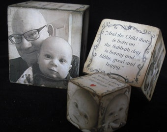 A  Set of 3 Personalised Vintage Style Wooden Photo Blocks