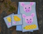 Table Runner, modern design, country kitchen patchwork, pig, corn, chick, heart, pink, yellow, grey, blue