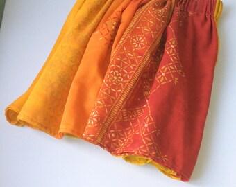 Little fun summer skirt Ready to ship Hand made Orange Short skirt Cotton skirt Skirt with rubber Comfortable skirt Last one skirt