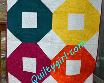 Cheery-O Quilt pattern  - perfect lap quilt , perfect for beginners and up!