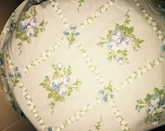 Vintage Blue Floral Fitted Sheet Twin
