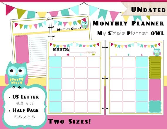 Academic Calendar Planner Refill : Printable monthly calendar planner pdf refills us letter