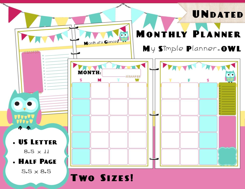 Calendar Planner Refills : Printable monthly calendar planner pdf refills us letter