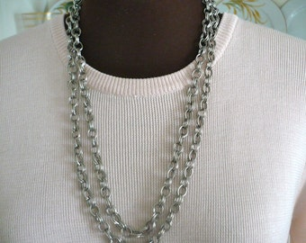 Long Chain Necklace Very Long Double Chain Maille Chain Mail 2 x 2 Rings Design 1940s-1950s Elegant Flapper Era Gatsby 20's