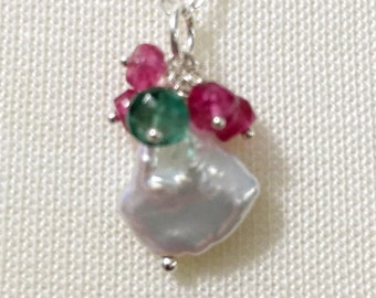 Emerald and Pink Tourmaline Necklace