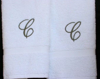 Monogrammed  Towels-Letter C Towels-Cotton Hand Towels- Towel Gift Set