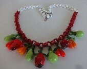 Vintage Celluloid and Blown Glass Vegetable/Fruit Necklace-Carmen Miranda,Summer,Beach