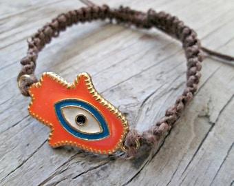 Hamsa Bracelet - Hemp Bracelet - Evil Eye Bracelet - Neon Orange Bracelet - Neon Jewelry - Simple Hemp Bracelet - Hippie Gypsy - Adjustable