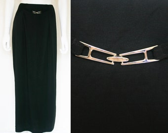 90s black maxi skirt with harware