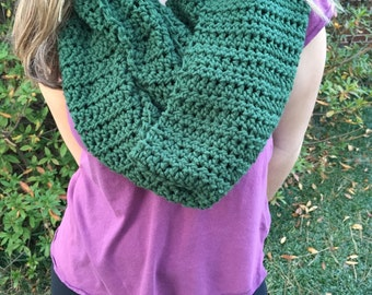 Large Green Crocheted Scarf