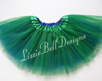 Kelly Green / Royal Blue Reversible Ballet Tutu Two Tone Skirt  / Child Toddler Costume Photo Prop Soft Tulle